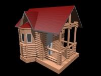 Бревенчатый домик с эркером